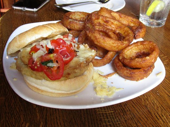 Eggplant Sandwich and Onion Rings