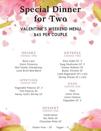 Valentine's weekend special menu