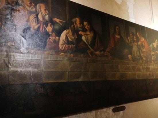 Grande tela di Alessandro Araldi (1516) che riproduce il Cenacolo di Leonardo da Vini