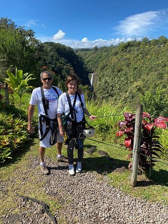 Hilo Zipline over KoleKole Falls: My friend from Germany took a zip line for the first time in her life! She fell in love with it!  Scenery , weather and crew was perfect!