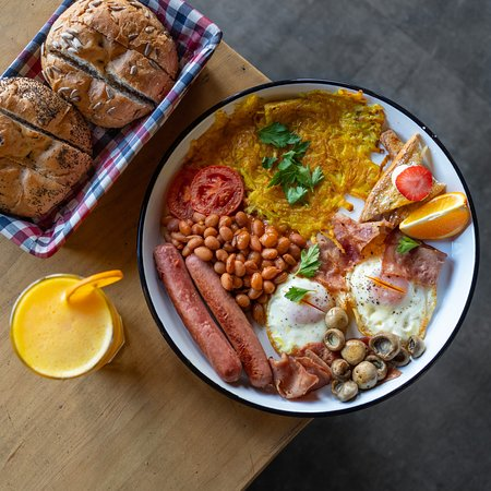 Country Style Breakfast Dish  Sausage, Bacon, Fried Egg, Grilled Vegetables, Hash Brown, Mushroom