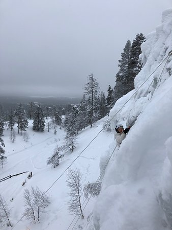 We had the greatest ice climbing adventure today with Claudia & Sebastian (Bliss Adventure) at Pyhä