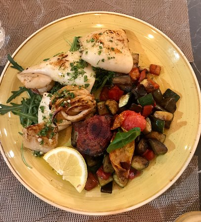 Grilled calamari with roasted vegetables