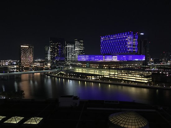 View over river at night
