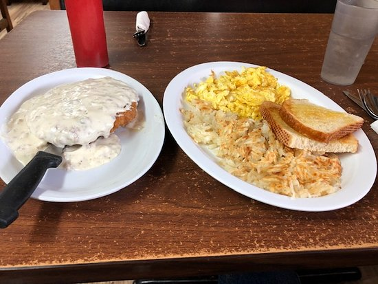 Saint Ignatius, MT: Chicken fried steak, hash browns, scrambled eggs and toast