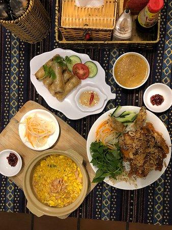 BBQ Pork Noodle Salad, Fried Rice with Egg, Vegetable Spring Rolls
