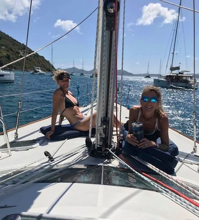 Full Day Jost Van Dyke, BVI Sail and Snorkel Trip: Meanwhile, Tommy and Erin are getting us all checked in to customs!