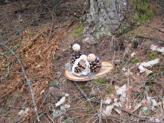 Presepe sul tronco con pigne
