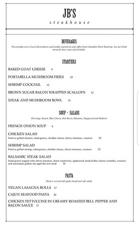 Robinson, IL: JB's has just released their new menu (Feb 17, 2020). It's also available on their website.