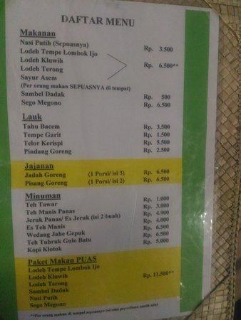 Daftar Menu Di Warung Kopi Klotok Picture Of Warung Kopi Klotok