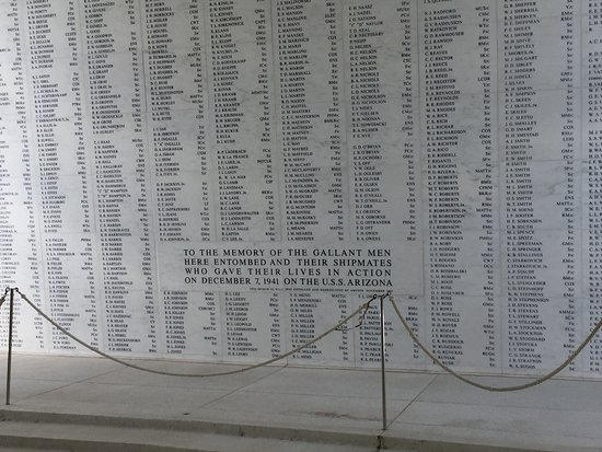 Pearl Harbor Visitor Center Tour: The names of those that lost their lives.