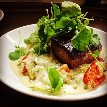 Lobster risotto with strip steak.