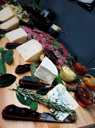 Cheese and meat board to take to a party.