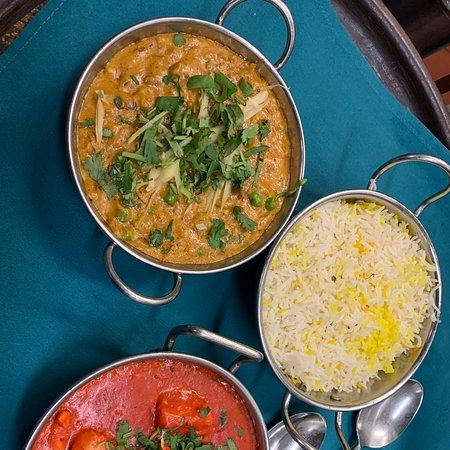 Comfort Food.  Chicken Tikka Masala, Bartha , Basmati Rice and Garlic Naan.