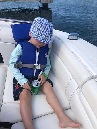 24 ft Sea Ray - 6 passengers: Our 3 year old, snoozing hard after a good, fun time!