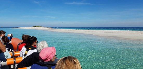 Glenan Decouverte: Banc de sable de Guiriden en arrivant dans l'archipel