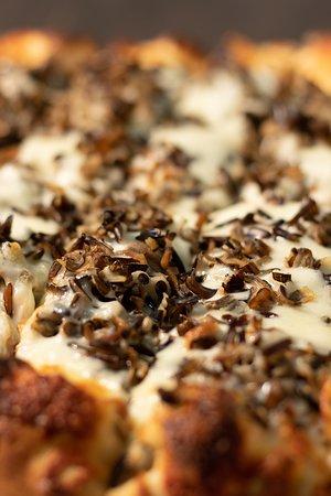 QC Pizza Mahtomedi MN. Chicken Wild Rice Pizza. Real Quad City Style Pizzeria