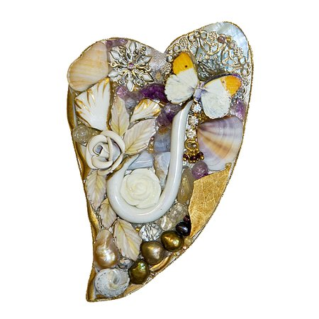 Sutton Courtenay, UK: Mixed media mosaic made by Emma Cavell using re-cycled china, shells, old jewellery and freshwater pearls.  Contact Emma  emmacavell22@gmail.com  www.emmacavellart.com