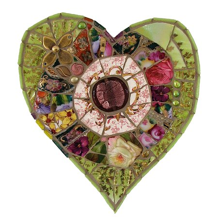 Sutton Courtenay, UK: Mixed media mosaic made by Emma Cavell, using vintage china, old jewellery, freshwater pearls and beads.      Contact Emma.    emmacavell22@gmail.com      www.emmacavellart.com