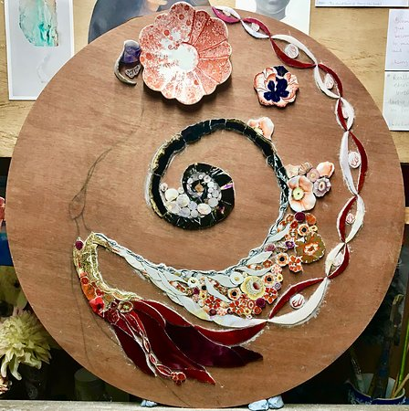 Sutton Courtenay, UK: Making a mixed media mosaic.  Work in progress by Emma Cavell.  Using a mix of vintage & re-cycled china, stained glass, crystals and vintage glass beads.  Contact Emma.  emmacavell22@gmail.com    www.emmacavellart.com  Instagram & Pinterest - emmacavellstudio