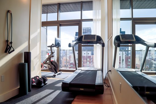 Fitness Room for hotel guests, with a view.