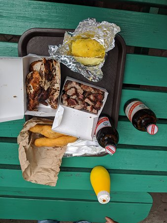 Montego Bay Food Drink & Culture Tour: Jerk chicken and pork with festival bread and Red Stripe beer