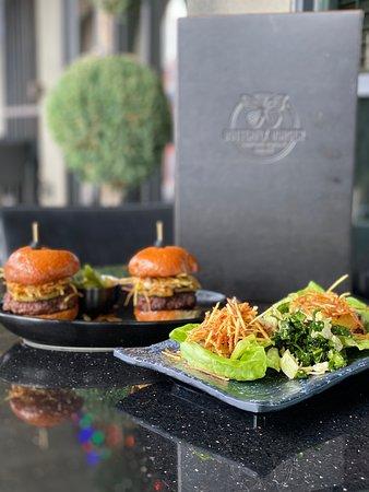 Samurai Supremos ~ Two 4 oz. Burgers, Signature Maple Teriyaki, Grilled Pineapple, Wasabi-Ginger Sauce, Haystack Potatoes on Artisan Bun || Mowee Bites ~ Mahi Mahi Lettuce Tacos with Wasabi-Ginger Sauce