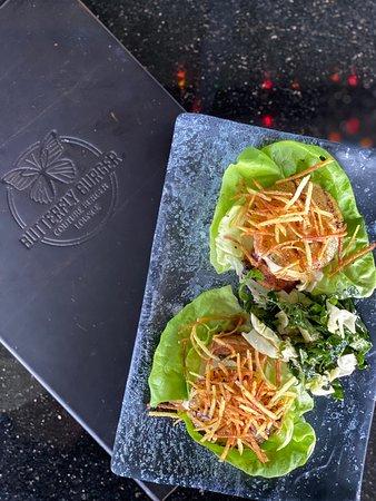 Mowee Bites ~ Mahi Mahi Lettuce Tacos with Wasabi-Ginger Sauce