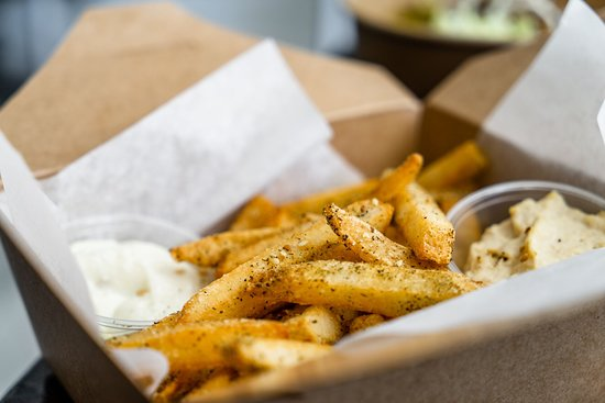 Za'atar Fries (with choice of garlic or hummus dip)