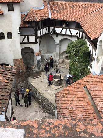 Looking down to Bran Castle court yard