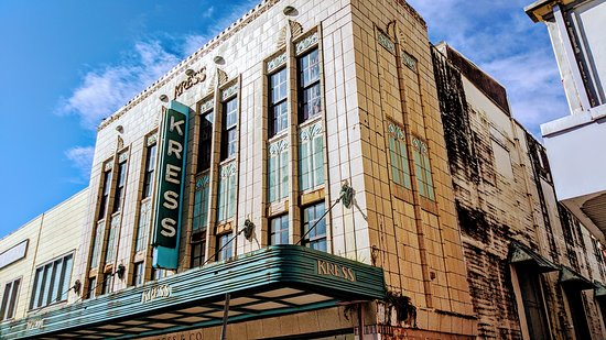 S.H. Kress Store is the largest building in Downtown Hilo and has two entrances. One on Kamehameha Ave. and one on Kalakaua Ave..