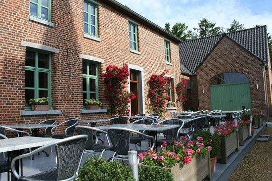 Bever, België: gezellig terras midden in rustig gelegen dorp