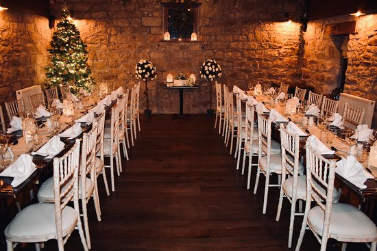 Our table set up for a Christmas wedding