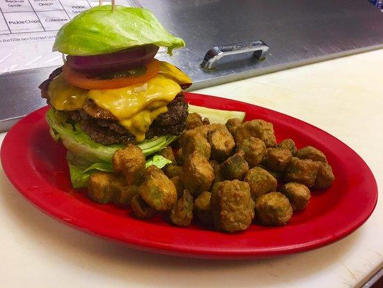Social Circle, GA: Double Bacon Cheeseburger on an Iceberg Lettuce Bun with a side of crispy Fried Okra.