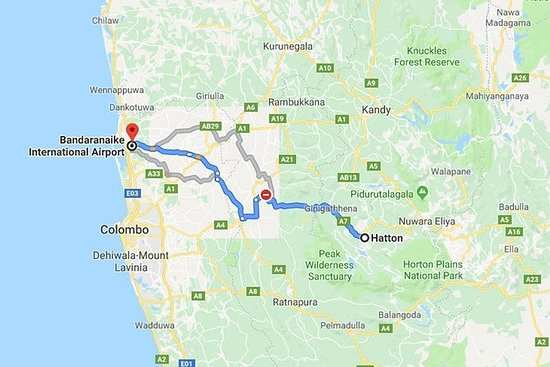 Hatton City to Colombo Airport (CMB) Private Transfer
