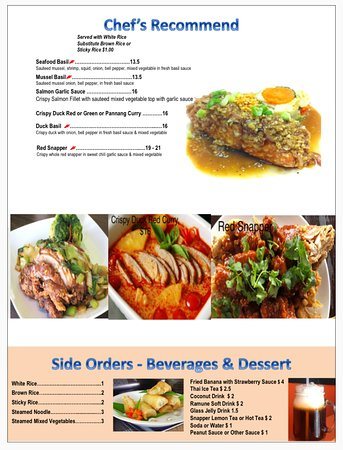 River Thai's Signatures Menu and Beverage