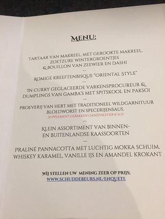 Schuddebeurs, The Netherlands: la carte , menu 6 services