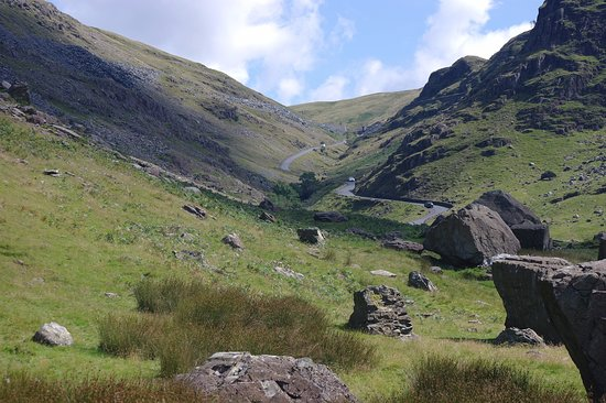 Honister Pass leading up to the top and the Slate Museum