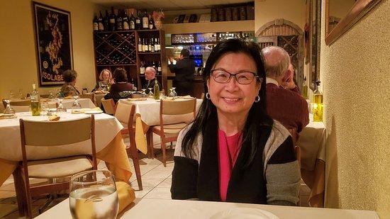 "Rosie having a special Valentine dinner at ""Rafagino"", Restaurant, Burke, Virginia"