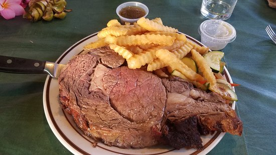 Thursday night prime rib special at Kualapuu Cookhouse.