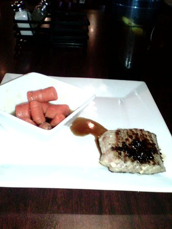 Sticks n Stones Hannibal, Missouri 6oz Salmon with candied carrots $16