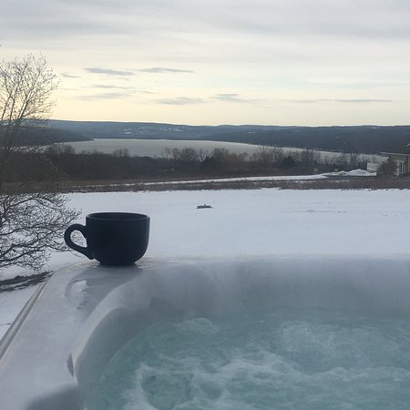 Lansing, État de New York : Sunrise from the Jacuzzi - February 2020, Yes there was a bit of snow on the ground and