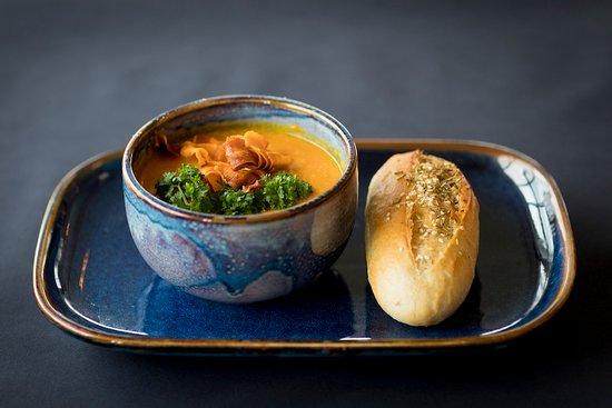 Гардур, Исландия: Sweet potato soup, also Vege option by Röstin chef.