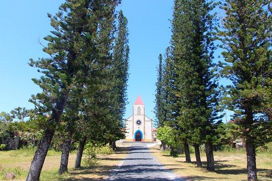Ouvea, Nieuw Caledonië: Eglise de Mouli Allée de pins coronaires