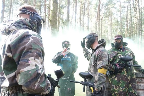 Banchory, UK: King of the hill winners after the game on barrel field zone. Paintball session!