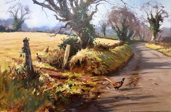 Pheasants near kilrea .Original oil painting By Donal McNaughton .  www.edenbaneart.com