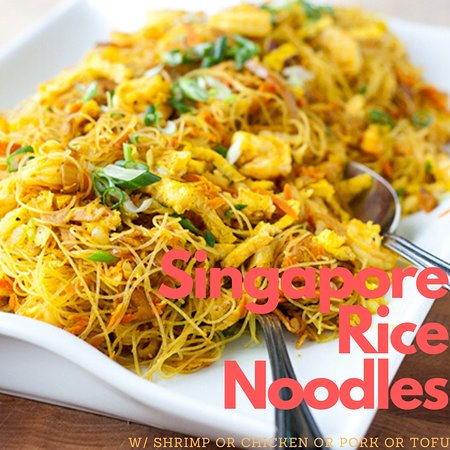 Shaker Heights, OH: curried mi fun noodles with your choice of shrimp, chicken, pork, or tofu