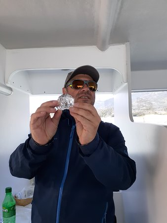 Pablo holding his ice cube with 3000 yr old bubbles!