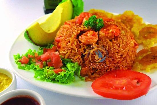 San Lorenzo, Эквадор: Arroz con camarón en Las Balsillas restaurant de Liguiqui donde comer es una delicia