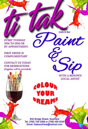 Much fun awaits you at our Paint & Sip sessions at  Ti Tak Café with a renown Artist. Paint your chosen picture while you sip complimentary wine and a mix of local treats. Once you paint you own it! We do group sessions for birthdays, anniversaries, bachelorette events, team building lot more. Call us to book.